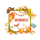 Banner for Oktoberfest celebration. Beer and. Ribbon. Vector illustration Royalty Free Stock Photography