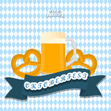 The banner Oktoberfest. Vector logo for bar banner oktoberfest pub during the festival beer mug glass with foam filled to the brim octoberfest pubs.Oktoberfest Stock Photography