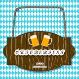 The banner Oktoberfest. Vector logo for bar banner oktoberfest pub during the festival beer mug glass with foam filled to the brim octoberfest pubs.Oktoberfest Stock Image