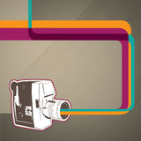 Banner with old camera. vector illustration