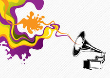 Banner with old gramophone Stock Images