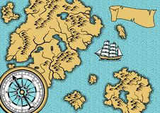 Banner with old nautical map. Islands, ships and vintage retro compass Royalty Free Stock Photos