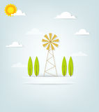Banner with an old windmill and trees Royalty Free Stock Images
