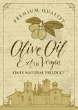 Banner for olive oil with countryside landscape. Vector banner or label for extra virgin olive oil with calligraphic inscription and olive sprig with green Stock Photos