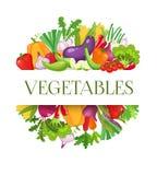 Banner om samenstelling met kleurrijke groenten voor het menuontwerp van de landbouwersmarkt Gezond voedselconcept Vector royalty-vrije illustratie