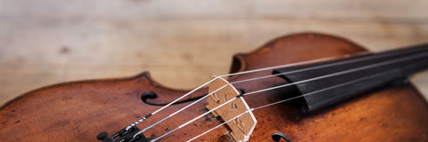Banner with one violina. On a rustic wooden background Royalty Free Stock Photos