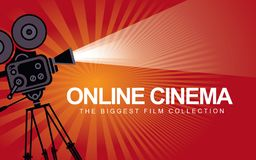 Banner for online cinema with old movie projector. Vector online cinema poster with old fashioned movie projector. Vintage retro movie camera with light and royalty free illustration