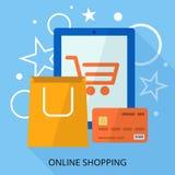 Banner online shopping devaysa credit card, bags. geometric effects. royalty free illustration