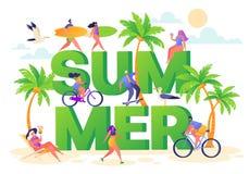 Banner op het thema van de de zomervakantie Openluchtactiviteit en rust op het strand royalty-vrije illustratie