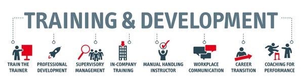 Banner opleiding en ontwikkeling conceptenillustratie vector illustratie