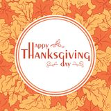 Thanksgiving day poster with autumn leaves. Stock Images