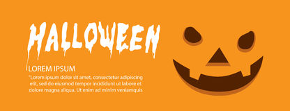 Banner of orange face pumpkin on Halloween flat vector. Royalty Free Stock Images