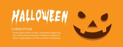 Banner of orange face pumpkin on Halloween flat vector. Illustration vector banner of orange face pumpkin on Halloween flat style Royalty Free Stock Images