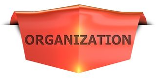 Banner organization. Organization 3D rendered red banner , isolated on white background Vector Illustration