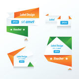 Banner origami  green, blue, orange Royalty Free Stock Photography