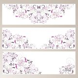 3 banner with ornaments. In beige and violett Stock Photo