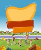 Banner over beeldverhaalfamilie in voorstadbuurt stock illustratie