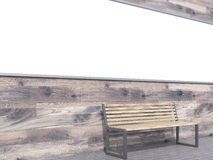 Banner over bench. Long blank banner over bench. Wooden background. Side view. Concept of street advertising. Mock up. 3D rendering Stock Photos