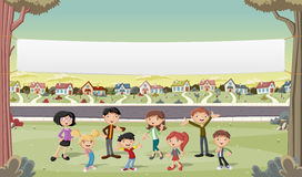 Banner over cartoon family in suburb neighborhood. Royalty Free Stock Images