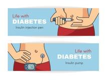 Banner over het leven met diabetes Apparaten voor insulineinleiding Royalty-vrije Stock Afbeeldingen