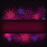 Banner over purple fireworks. Colorful fireworks over dark background Royalty Free Stock Image