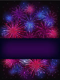 Banner over purple fireworks. Colorful fireworks over dark background Stock Image