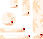 Banner with palm trees and woman Stock Photo