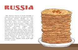 Banner with pancakes with red caviar on the table, inscription russia and place for text stock illustration