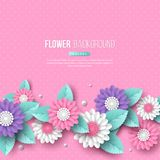 Banner with paper cut 3d flowers in pink, white and violet colors. Place for text, dotted pattern. Decorative elements. For holiday design. Vector illustration Stock Images