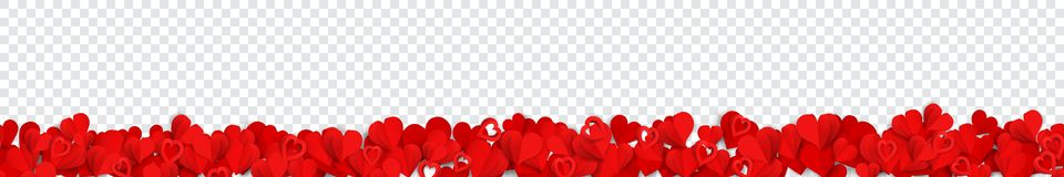 Banner with paper hearts vector illustration