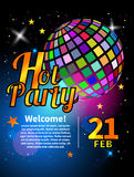 Banner for party. Flyer for nightclub with  ball. Invitation, template, card for holiday in night club. Vector illustration Stock Photography