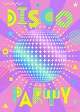 Banner for a party in the retro style. Holographic Disco Ball with pink and lilac rays. Banner for a party in the retro style. Trendy geometric font in memphis stock illustration