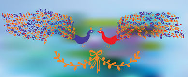 Banner with peacocks and floral element. Design of background Stock Photography