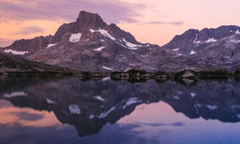 Banner Peak. Mountain reflection of Banner Peak near Thousand Island Lakes Royalty Free Stock Photos