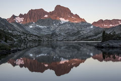 Banner Peak Reflecting on Garnet Lake, Ansel Adams Wilderness Stock Images