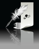 Banner with a pen and a cup of coffee Royalty Free Stock Photo