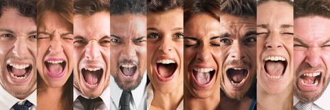 Banner people screaming. Banner faces of the desperate people screaming Stock Photo