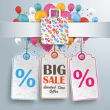 Banner Percentage Shopping Bag Balloons Price Stickers Stock Photography