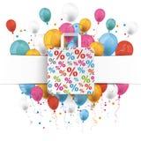 Banner Percentage Shopping Bag Balloons Royalty Free Stock Photo