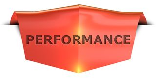 Banner performance. Performance 3D rendered red banner , isolated on white background Royalty Free Stock Photo