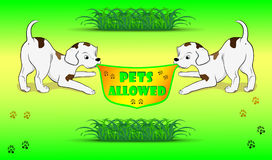 Banner pets allowed vector illustration