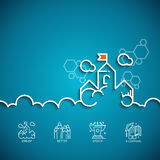 Banner with a picture of white symbol dream. Vector banner with a picture of white flat line symbol dream as cloud-castle on blue background Royalty Free Stock Image