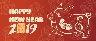 Banner with a pig in the style of the tribe and the text of the new year.  vector illustration