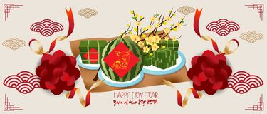 Banner with a pig in the style of the tribe and the text of the new year 2019.  stock illustration