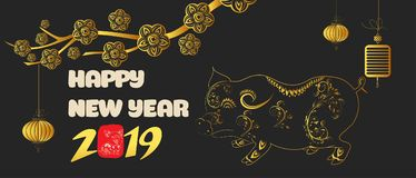 Banner with a pig in the style of the tribe and the text of the new year 2019.  royalty free illustration