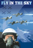 Banner of pilot and plane Royalty Free Stock Photography