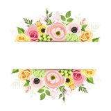 Banner with pink, orange and yellow flowers. Vector background. Stock Photo