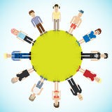 Banner with pixel people. Vector illustration Royalty Free Stock Images