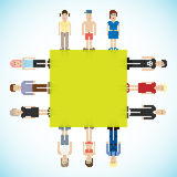 Banner with pixel people Royalty Free Stock Photo