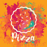 Banner for pizza on the abstract background Stock Images